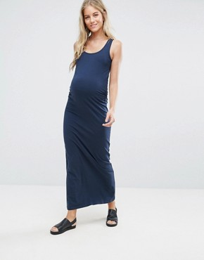 photo Organic Cotton Jersey Maxi Dress by Mama.licious, color Navy - Image 1