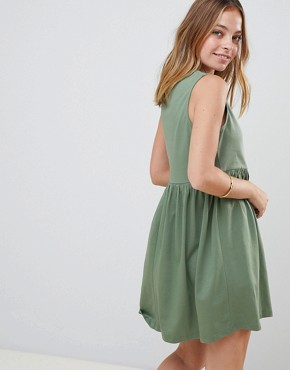 photo Sleeveless Button Smock Dress by ASOS DESIGN Petite, color Khaki - Image 2