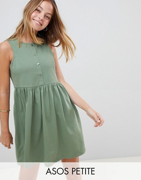 photo Sleeveless Button Smock Dress by ASOS DESIGN Petite, color Khaki - Image 1