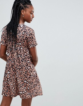 photo Ultimate Cotton Smock Dress in Leopard Print by ASOS DESIGN Tall, color Multi - Image 2