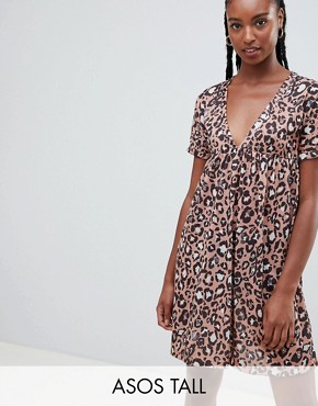 photo Ultimate Cotton Smock Dress in Leopard Print by ASOS DESIGN Tall, color Multi - Image 1