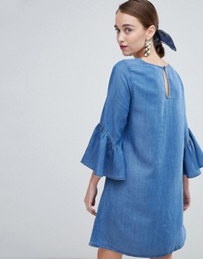 photo Shift Dress with Ruffle Sleeve by New Look, color Blue - Image 2