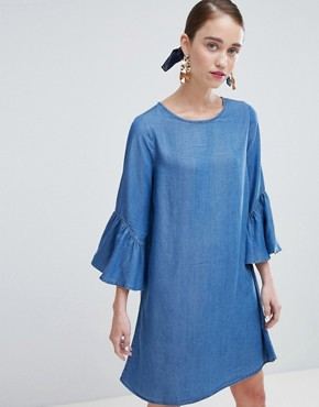photo Shift Dress with Ruffle Sleeve by New Look, color Blue - Image 1