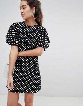 photo Spot Dobby Tea Dress by New Look, color Black Pattern - Image 1