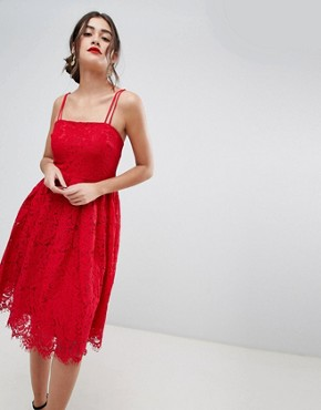 photo Lace Skater Dress by New Look, color Bright Red - Image 1