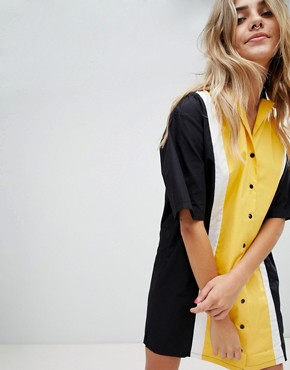 photo Bowling Shirt Dress by the Ragged Priest, color Yellow - Image 1