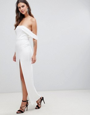 photo Bardot Strap Maxi Dress with Thigh Split by ASOS DESIGN, color Ivory - Image 1