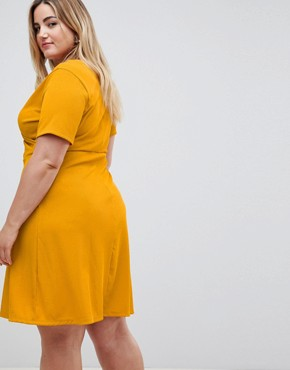 photo Wrap Dress by New Look Curve, color Yellow - Image 2