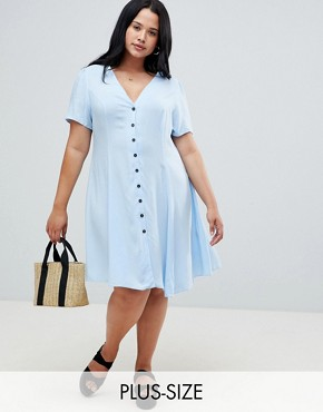 photo Ruched Sleeve Tea Dress by New Look Curve, color Blue - Image 1