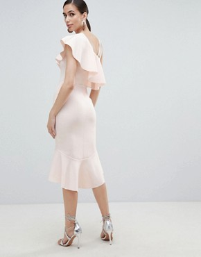 photo One Shoulder Ruffle Midi Bodycon Dress by ASOS DESIGN, color Blush - Image 2