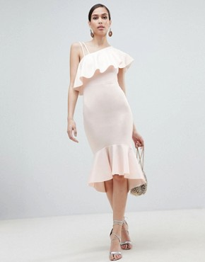 photo One Shoulder Ruffle Midi Bodycon Dress by ASOS DESIGN, color Blush - Image 1