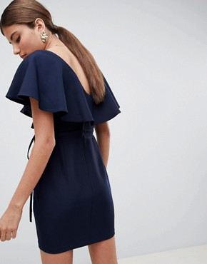 photo Double Layer Ruffle Wrap Mini Dress by ASOS DESIGN, color Navy - Image 2