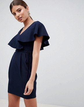 photo Double Layer Ruffle Wrap Mini Dress by ASOS DESIGN, color Navy - Image 1