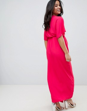 photo Plunge Knot Front Wrap Maxi Dress in Pink by Queen Bee, color Pink Fuchsia - Image 2
