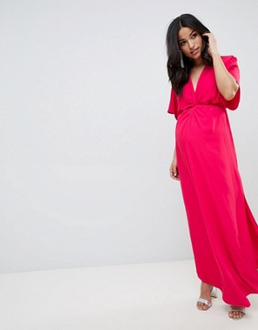photo Plunge Knot Front Wrap Maxi Dress in Pink by Queen Bee, color Pink Fuchsia - Image 1