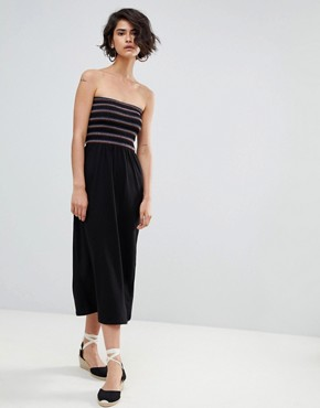 photo Shirred Bandeau Midaxi Dress by Warehouse, color Black - Image 1