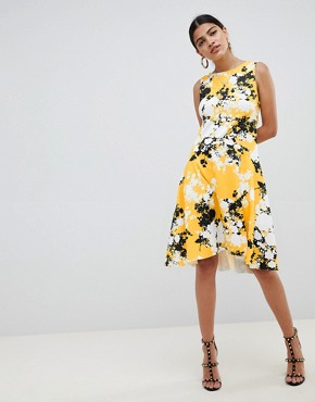 photo Scuba Shift Dress with Full Hem in Shadow Floral by ASOS DESIGN, color Floral Print - Image 1