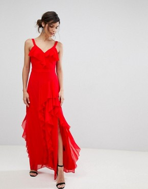 photo Illy Ruffle Maxi Dress by Coast, color Red - Image 1