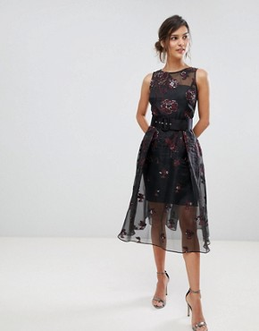 photo Izzy Sheer Layered Dress with Jacquard Print by Coast, color Midnight - Image 1