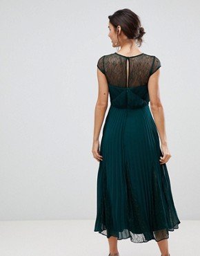 photo Cleo Pleated Bridesmaids Dress with Lace Yolk by Coast, color Green - Image 2