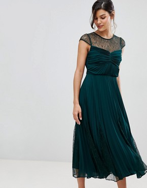 photo Cleo Pleated Bridesmaids Dress with Lace Yolk by Coast, color Green - Image 1