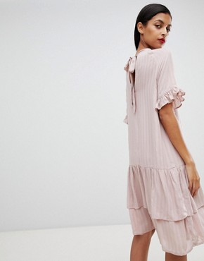 photo Femme High Neck Stripe Dress by Selected, color Pink - Image 2