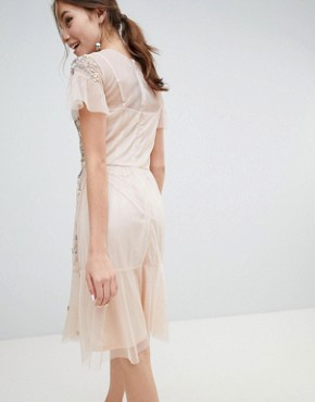 photo Midi Dress with All Over Embellishment by Miss Selfridge, color Nude - Image 2