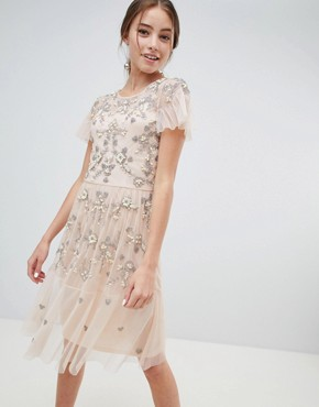 photo Midi Dress with All Over Embellishment by Miss Selfridge, color Nude - Image 1