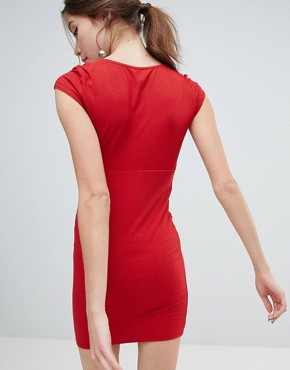 photo Tie Front Bodycon Mini Dress by Miss Selfridge, color Red - Image 2