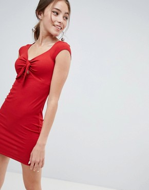 photo Tie Front Bodycon Mini Dress by Miss Selfridge, color Red - Image 1