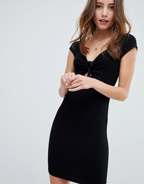 photo Dress with Tie Front Detail in Bodycon by Miss Selfridge, color Black - Image 1