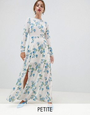 photo Maxi Dress in Floral Print by Miss Selfridge Petite, color White - Image 1