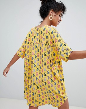 photo Tiger Print Dress in Yellow by Monki, color Yellow - Image 2
