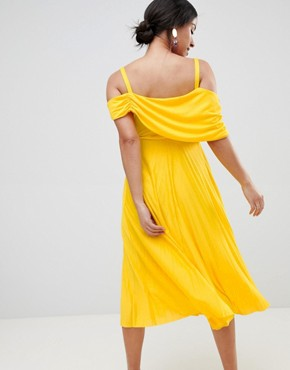 photo Maternity Pleated Midi Dress with Sleeve Detail by ASOS DESIGN, color Yellow - Image 2