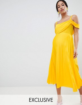 photo Maternity Pleated Midi Dress with Sleeve Detail by ASOS DESIGN, color Yellow - Image 1