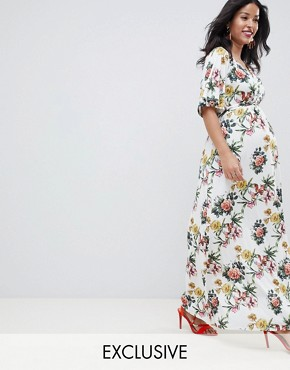photo Maternity Slinky Occasion Floral Maxi Dress by ASOS DESIGN, color Multi - Image 1