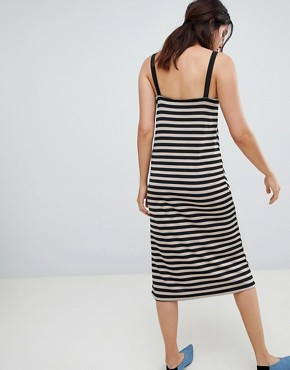 photo Diagonal Stripe Dress by Stradivarius, color Beige - Image 2