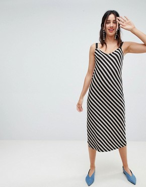 photo Diagonal Stripe Dress by Stradivarius, color Beige - Image 1