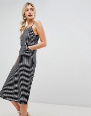 photo Midi Cami Dress with Pocket Detail in Stripe by Warehouse, color Stripe - Image 1