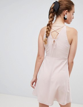 photo Dress with Frill Wrap Front and Tie Side Detail by Miss Selfridge, color Nude - Image 2