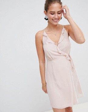 photo Dress with Frill Wrap Front and Tie Side Detail by Miss Selfridge, color Nude - Image 1