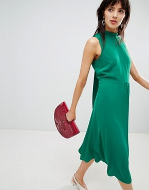 photo Midi Dress with Tie Back Detail in Green by Warehouse, color Green - Image 1