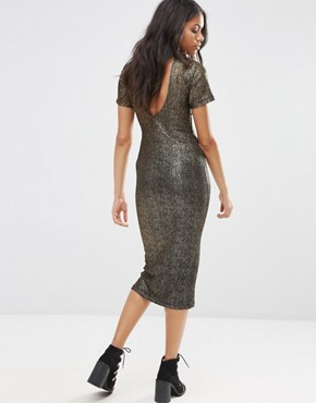 photo Wavery Midi Dress in Shimmer Fabric by Motel, color Black/Gold - Image 2