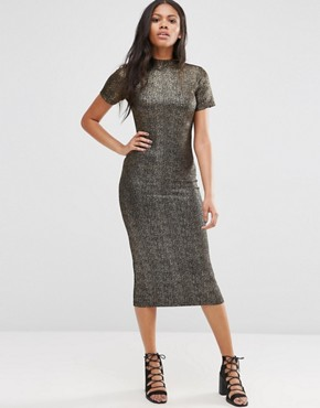 photo Wavery Midi Dress in Shimmer Fabric by Motel, color Black/Gold - Image 1