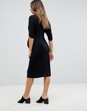 photo Relaxed Drape Front Jersey Dress by Noppies Maternity, color Black - Image 2