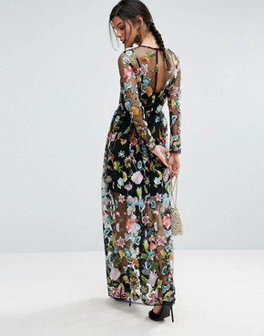 photo Embroidered Sheer Maxi Dress by ASOS SALON, color Multi - Image 2
