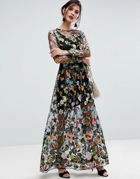 photo Embroidered Sheer Maxi Dress by ASOS SALON, color Multi - Image 1