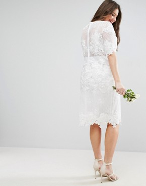 photo Lace Embroidered Midi Wedding Dress by ASOS EDITION Curve, color White - Image 2