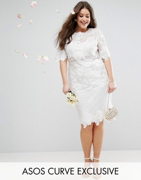 photo Lace Embroidered Midi Wedding Dress by ASOS EDITION Curve, color White - Image 1