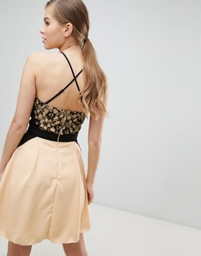 photo Lace Overlay Mini Dress by Little Mistress, color Beige - Image 2